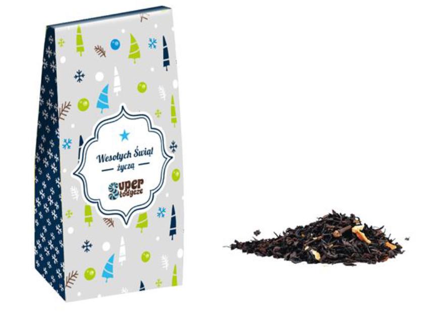 świąteczna herbata z nadrukiem logo