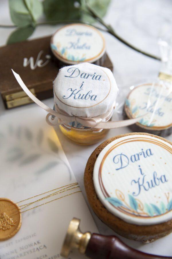 miody i ciasteczka ślubne